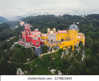 The Pena Palace, a Romanticist castle  in the municipality of Sintra, Portugal, Lisbon district, Grande Lisboa, aerial view, shot from drone