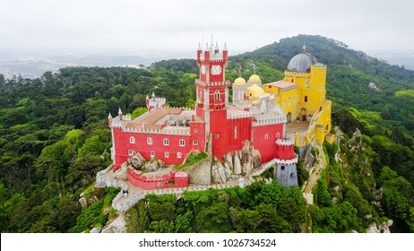 The Pena Palace from the Sky. Sintra, Portugal.  The palace is a UNESCO World Heritage Site.