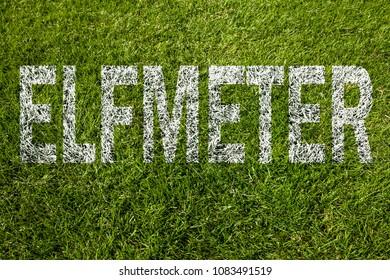 Penalty kick (written in german) on soccer meadow