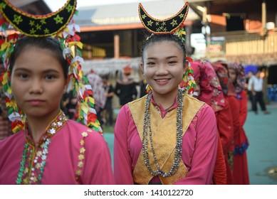 Penampang, Sabah Malaysia.May 28, 2019 : Group of people in traditional costume during Pesta Kaamatan. Pesta Kaamatan or Harvest Festival is a major celebration in Sabah.