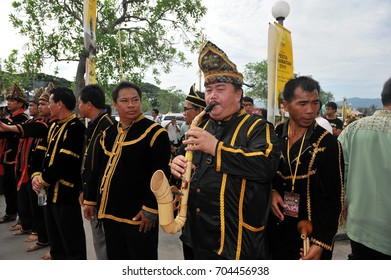 Penampang, Sabah Malaysia.May 30, 2011 : Group of men in traditional costume during Pesta Kaamatan. Pesta Kaamatan or Harvest Festival is a major celebration in Sabah.