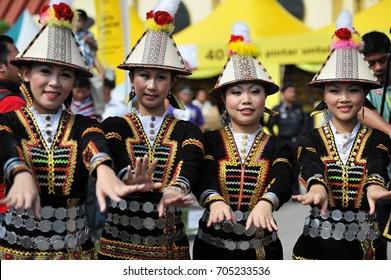 Penampang, Sabah Malaysia.May 30, 2011 : Ladies from the Kadazan Papar of Sabah Borneo in traditional costume during Pesta Kaamatan. Pesta Kaamatan or Harvest Festival is a major celebration in Sabah.