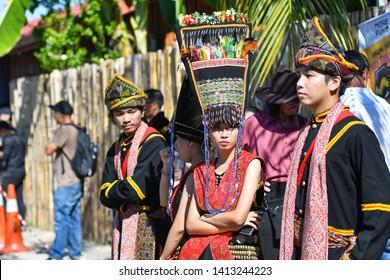 Penampang, Sabah Malaysia.May 30, 2019 : Group of sabah tribe people in traditional costume during Pesta Kaamatan. Pesta Kaamatan or Harvest Festival is a major celebration in Sabah.