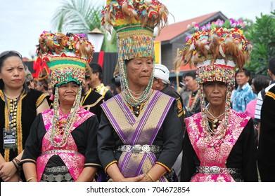 Penampang Sabah Malaysia -31 May 2011 : A group of shaman of the Kadazan ethnic or locally known as 'Bobohizan' during the Pesta Kaamatan or Harvest Festival in Penampang, Sabah.