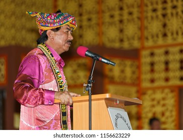 Penampang, Sabah, Malaysia - May 30 2014: Chief minister Musa Aman with traditional Dusun headgear during the opening ceremony of Kaamatan