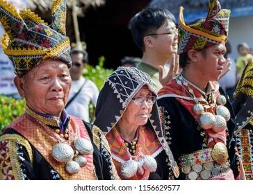 Penampang, Sabah, Malaysia - May 30 2014: Members of the Dusun Tindal people at Kaamatan Festival at the Unity Hall of the Kadazandusun Cultural Association