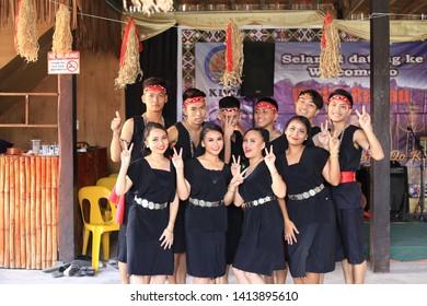 Penampang, Sabah, Malaysia, May 31, 2019 : Group of people in traditional costume during Pesta Kaamatan. Pesta Kaamatan or Harvest Festival is a major celebration in Sabah.