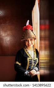 Penampang, Sabah, Malaysia, May 31, 2019 : Beautiful young women in traditional costume during Pesta Kaamatan. Pesta Kaamatan or Harvest Festival is a major celebration in Sabah.
