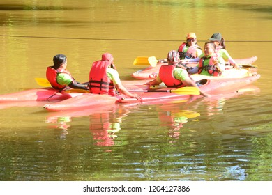 Penampang, Sabah, Malaysia - Sept 30, 2018 : A group kayak team gather around with their kayak in the river. of Penampang folk urged to protect river and promote recreational activity.