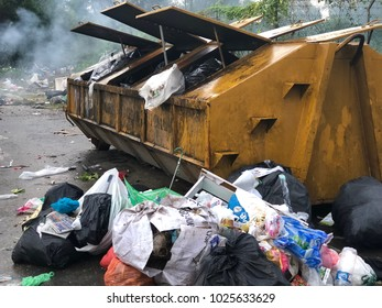 PENAMPANG, SABAH,MALAYSIA-FEB 15,2018: Editorial Use Only. Rubbish overflow outside trash containers and poor waste management.