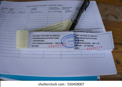PENAMPANG,SABAH,MALAYSIA-January 7,2017:Ticket for entry at Sinilou Kibambangan Water Park,Penampang,Sabah