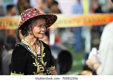 Penampang,Sabah-May 30,2011:Unidentified elderly women in kadazan traditional costume during Kaamatan festival.Harvest festival,its a major yearly event for the Kadazandusun in Sabah,Borneo.