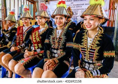 Penampang,Sabah-May 30,2016:Ladies from the Kadazandusun Papar of Sabah Borneo in traditional costume during Kaamatan Festival. Kaamatan Festival is a major celebration in Sabah,Borneo.