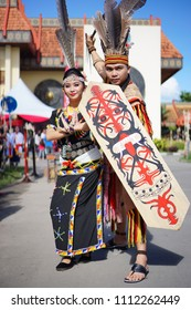 Penampang,Sabah-May 30,2018: Portrait of sabah local tribe in traditional costume during Kaamatan festival.Harvest festival,its a major yearly event for the Kadazandusun in Sabah.