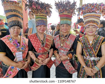 Penampang,Sabah-May 30,2018:Group of bobohizan from kadazan tribe in traditional costume during Kaamatan festival.Harvest festival,its a major yearly event for the Kadazandusun in Sabah.