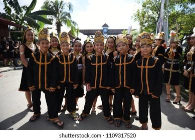 Penampang,Sabah-May 30,2018:Group of kid in tambunan traditional costume during Kaamatan festival.Harvest festival,its a major yearly event for the Kadazandusun in Sabah.