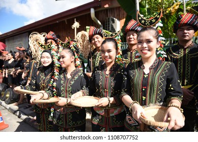 Penampang,Sabah-May 30,2018:Group of people from dusun tombunuo tribe in traditional costume during Kaamatan festival.Harvest festival,its a major yearly event for the Kadazandusun in Sabah.