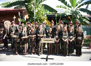 Penampang,Sabah-May 30,2018:Group of people in traditional costume during Kaamatan festival.Harvest festival,its a major yearly event for the Kadazandusun in Sabah.