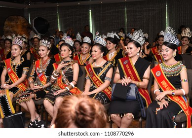 Penampang,Sabah-May 30,2018:Group of young women in traditional costume during Kaamatan festival.Harvest festival,its a major yearly event for the Kadazandusun in Sabah.