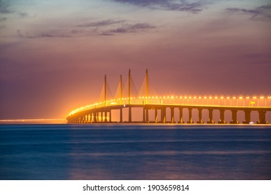 Penang Bridge of George town during sunrise