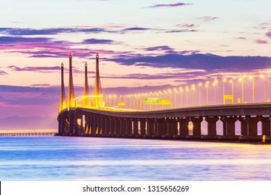 Penang Bridge sunrise by the shore