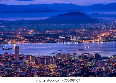Penang Island & Mainland Penang overview from Penang Hill at Dawn with City lights