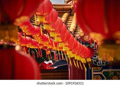 Penang Island, Penang / Malaysia - 02.15.2018: Chinese New Year Celebration in Kek Lok Si Temple