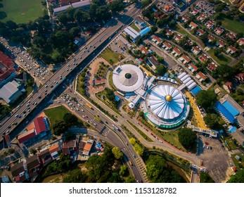 Penang Island, Malaysia - 10 August 2018 : Aerial view Penang State Mosque or Masjid Negeri Pulau Pinang which is a state mosque of Penang State, Malaysia.