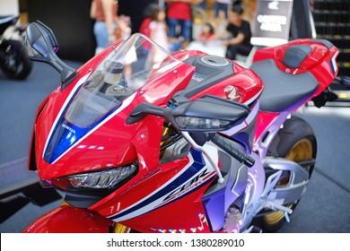 Penang, Malayisa - April 20, 2019 : Big Bike Honda display in the Honda Big Wing Roadshow at Queensbay Mall - Boon Siew Motor