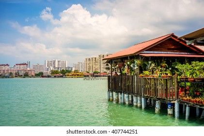 Penang, Malaysia - 12 August 2015: An old plant shop at the back end of Chew Jetty fishing village in Penang, Malaysia.