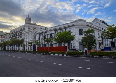 Penang, Malaysia - 12 JANUARY 2019 : Exterior view of old building which used to be a godown during 19th century in Weld Quay, George Town, currently under refurbishment to turn into hotel.