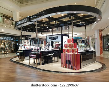 PENANG, MALAYSIA - 12 OCT 2018: Estee Lauder cosmetic store in shopping mall. The Estee Lauder Companies is an American manufacturer of prestige skincare, makeup, fragrance and haircare product.