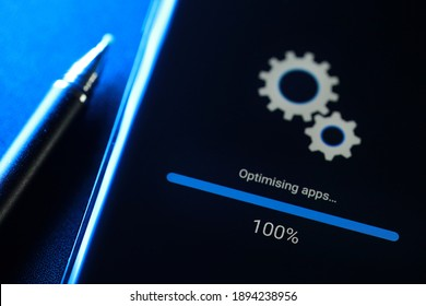 PENANG, MALAYSIA - 14 JAN 2021: Soft focus image Android phone installing system update in progress. Android is a mobile operating system developed by Google.