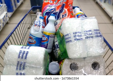 PENANG, MALAYSIA - 16 MARCH 2020: Shopper stock up bottles of Clorox Bleach and other toiletries products on shopping cart in a supermarket. Covid-19 panic-buying hits Penang, Malaysia