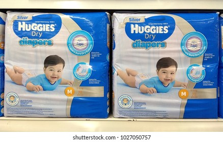 PENANG, MALAYSIA - 16 OCT 2017:  Huggies brands baby diapers on the store shelf. It is a type of underwear that allows the wearer to defecate or urinate without the use of a toilet.