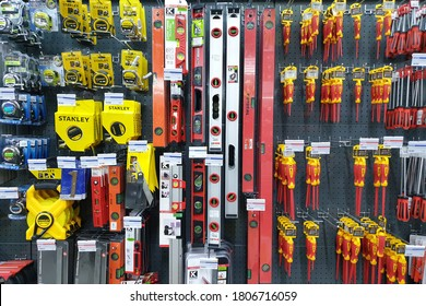 PENANG, MALAYSIA - 18 AUG 2020: Various choice of hardware tools display in HomePro store. HomePro is a hypermarket of home product and building construction in Malaysia.