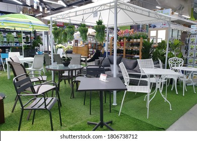 PENANG, MALAYSIA - 18 AUG 2020: Various brands of gardening furniture, plants and tools in HomePro department store. HomePro is a hypermarket of home product and building construction in Malaysia.