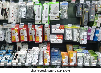 PENANG, MALAYSIA - 18 AUG 2020: Various choice of portable power socket display in HomePro store. HomePro is a hypermarket of home product and building construction in Malaysia.