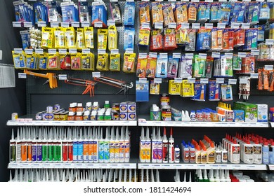 PENANG, MALAYSIA - 18 AUG 2020: Various choice of glue stick, tube and bottle display in HomePro store. HomePro is a hypermarket of home product and building construction in Malaysia.