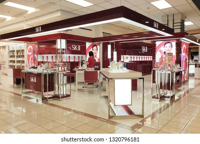 PENANG, MALAYSIA - 18 JAN 2019: SK-II Pitera Premium Skin Care store in Queensbay Mall. SK-II is a Japanese prestige beauty brand launched in 1980.