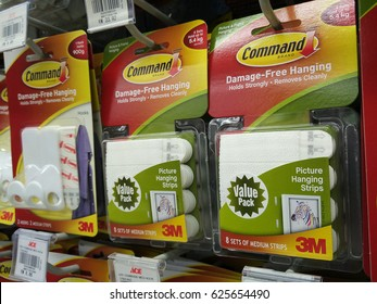 PENANG, MALAYSIA - 20 APRIL 2017: Command brand Picture Hanging Strips and Hooks by 3M company on store shelf. 3M is the general public primarily known for the Post-it Notes and Scotch Tapes.