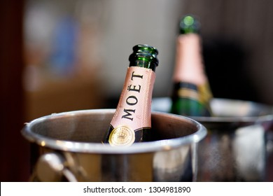 PENANG, MALAYSIA - 20 JAN 2019 - Moet Rose Imperial Ice Champagne served in a bucket. Moët et Chandon is one of the world's largest expansive champagne producers and a prominent champagne house.