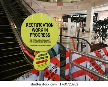 Penang, Malaysia - 20 Jun 2020 : Excalator are not working due to rectification work in progress