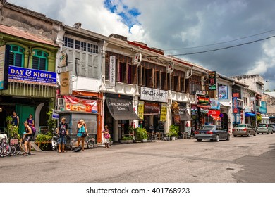 Penang, Malaysia - 21 August 2015: Chulia street, Penang's backpackers street fills with budget hotels and restaurants.