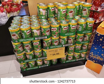 Penang, Malaysia - 23 November 2018 : View a tin of NESTLE Milo on supermarket shelf. Milo is a chocolate and malt powder produced by Nestle.