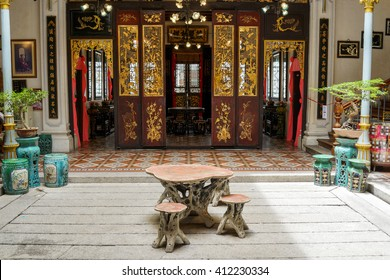 Penang, Malaysia - 24 August 2015: A traditional Nyonya inner courtyard at the Pinang Peranakan Mansion.