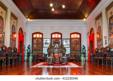 Penang, Malaysia - 24 August 2015: A typical Nyonya family hall at the Pinang Peranakan Mansion.
