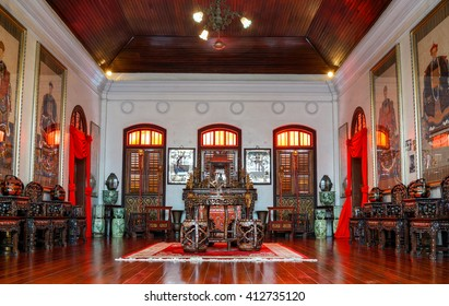 Penang, Malaysia - 24 August 2015: The Ancestral hall at the Pinang Peranakan Mansion.