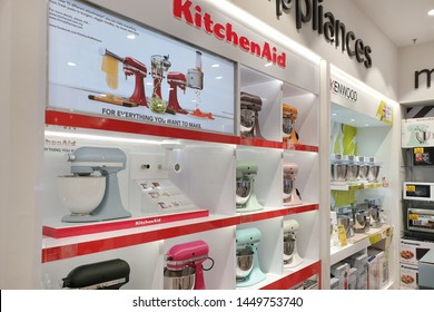 PENANG, MALAYSIA - 25 APR 2019: View of modern KitchenAid stand mixers on store shelf. KitchenAid is an American home appliance brand owned by Whirlpool Corporation.