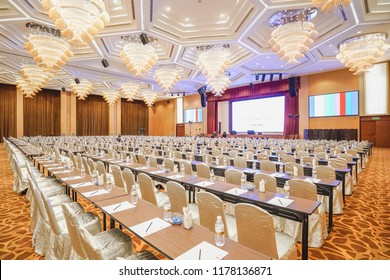 Penang, Malaysia - 25 July 2018: Photo showing corporate event held in hotel ballroom